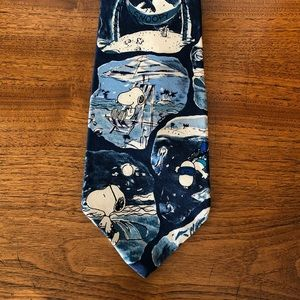 Snoopy Peanuts Blue Vacation Beach Tie Necktie Men